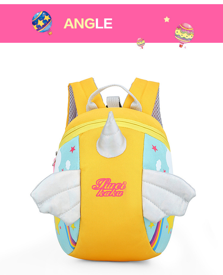 Nylon Fabric Panelled Preschool Backpack Baby Girls Mini Unicorn School Bags for Toddler Kids Cute Cartoon Casual Back Pack Blue (6)