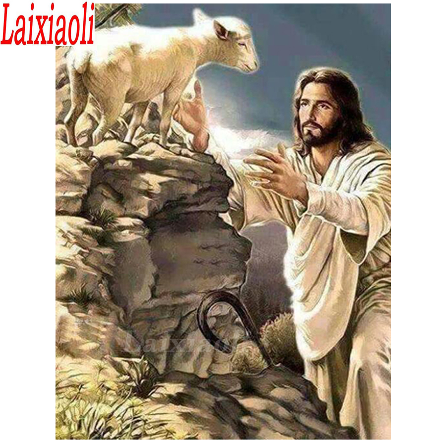 DIY Diamond Painting Cross Stitch Jesus with Sheep picture of rhinestone Diy Diamond Embroidery Full Square Round Diamond decor