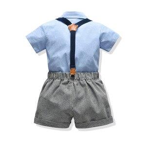 Image 2 - Baby kinder kleidung jungen anzug set für sommer neue angekommene blaue hemd grau shorts für baby geburtstag 2020 kleinkind gentleman anzug