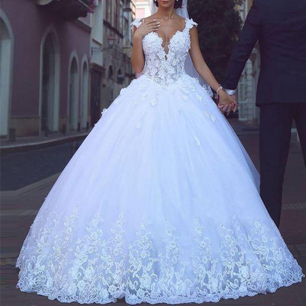 Prinzessin Arabisch Brautkleider Türkei Vintage Spitze Hochzeit Kleider  Blume Ballkleid Braut Kleider 19 Vestido de Noiva Plus Größe