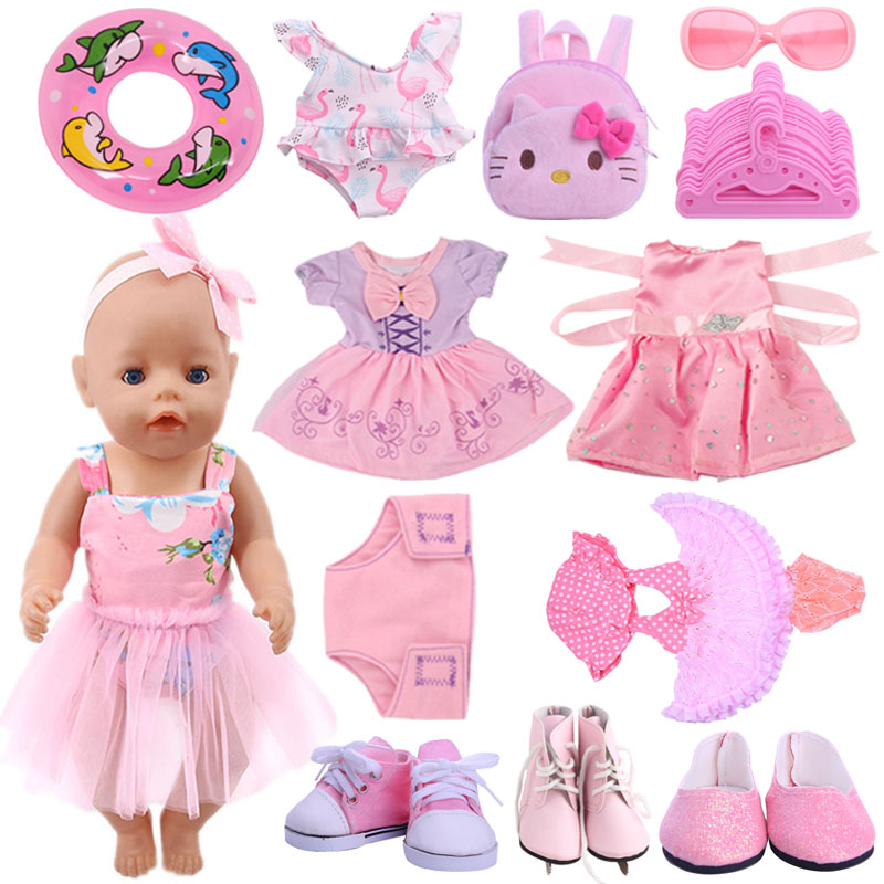 Doll Pink Series Dsiney Elsa Dress Flamingo Swimsuit Skate Canvas Shoes For 18 Inch American&43 Cm Baby New Born Doll Girl`s Toy