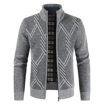 NEGIZBER 2019 New Autumn Winter Jacket Men Coats Solid Slim Fit Thick Fleece Casual Stand Collar Zip - discount item  41% OFF Coats & Jackets