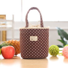 1Pcs Cute Sweet Polka-Dot Cotton Canvas Lunch Bag Box Ice Korean Insulated