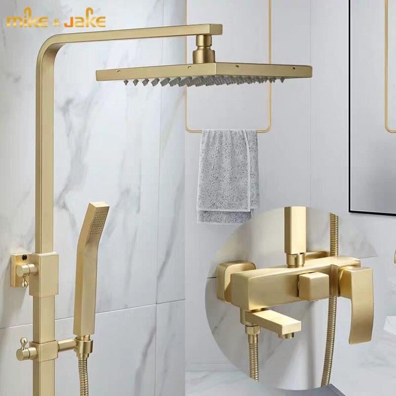 Ouro escova de chuveiro conjunto parede do banheiro fosco ouro chuveiro luxo banheiro escova ouro parede misturador do chuveiro banheira quente & fria torneira