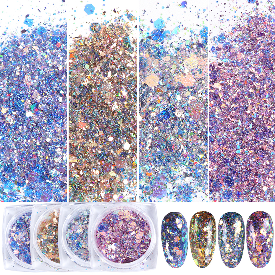 1 Box Nail Art Mermaid Glitter 3D Hexagon Paillette Sequins Flakes Sparkling Pigment Powder Manicure Decoration Tips TRXKP01-12