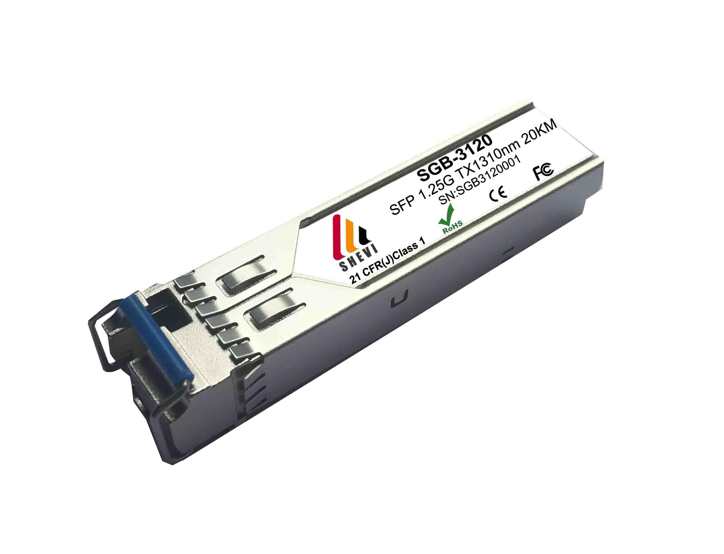 1.25G BiDi SFP WDM SC TX1310nm/RX1550nm 10km 20km Module émetteur-récepteur Compatible avec Cisco Mikrotik 1310nm-TX/1550nm-RX SFP