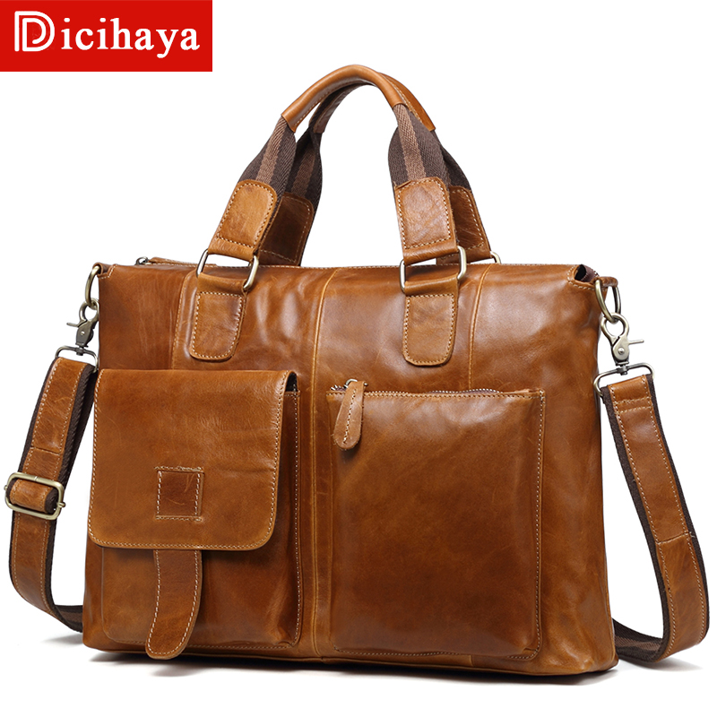 DICIHAYA Vintage Men's Genuine Leather Briefcase Cowhide Business Bag Cow Leather Laptop Double Layer Messenger Bag PC Work Tote