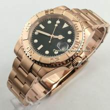 40mm Bliger Sterile 24 Jewels Japan NH35 Automatic Mens Watch Sapphire Glass Rose Gold Case Bezel Wrist Watch Relogio Masculino(China)