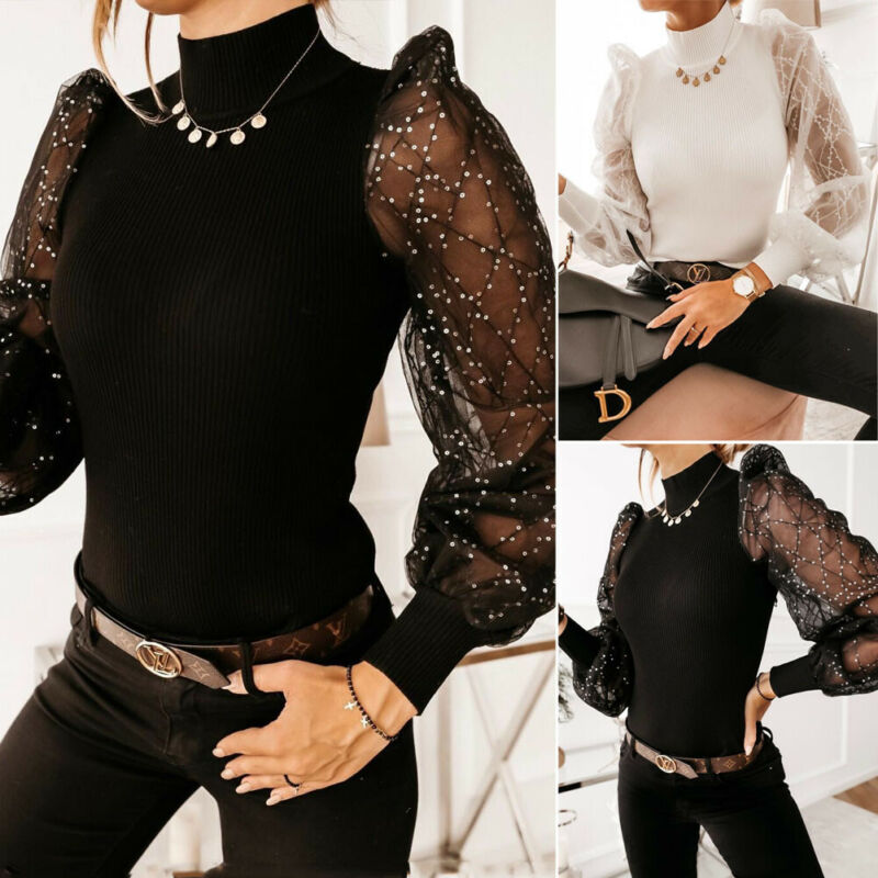 Womens Blouse Lace Party Jumper Pearls Tee Shirt Mesh Beaded Casual Ladies Tops