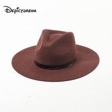 Autumn Winter Modern stylish wool PU leather decorative belt Shopping Tourist Style Felt Jazz