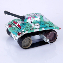 1PC Mini Vintage Tin Metal Toys Friction Tank Car Modern Design Kids Children Childhood Classic Wind Up Clockwork Toy