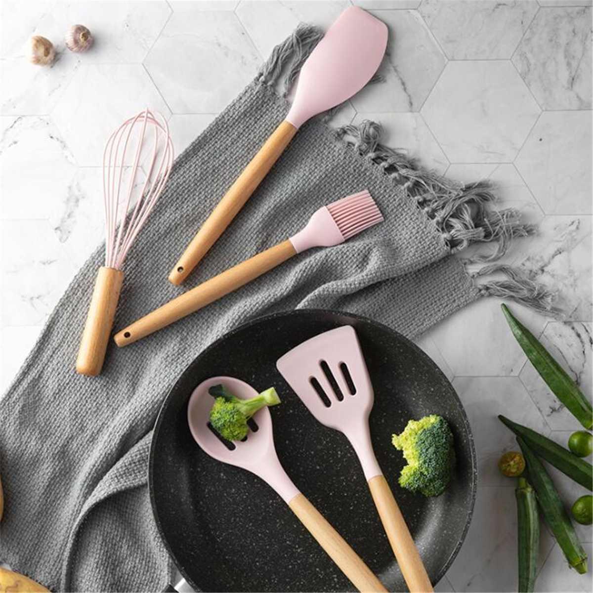11 pçs conjunto de utensílios de cozinha de silicone antiaderente pá de espátula de madeira lidar com ferramentas de cozinha conjunto com caixa de armazenamento ferramentas de cozinha novo - 2