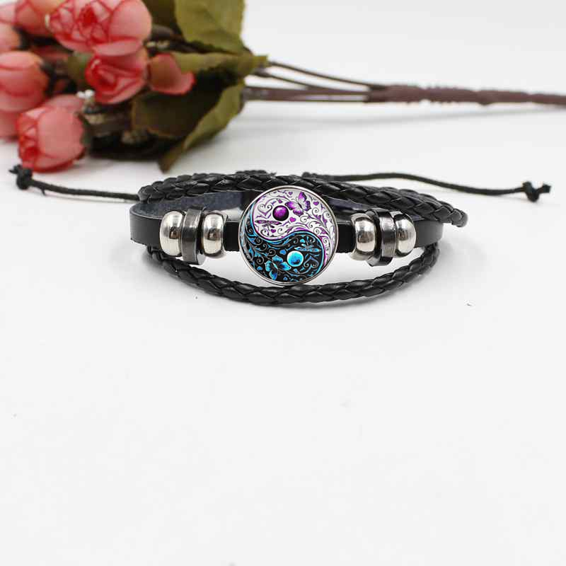 Best selling Yin and Yang Tai Chi woven leather bracelet crystal glass fashion jewelry