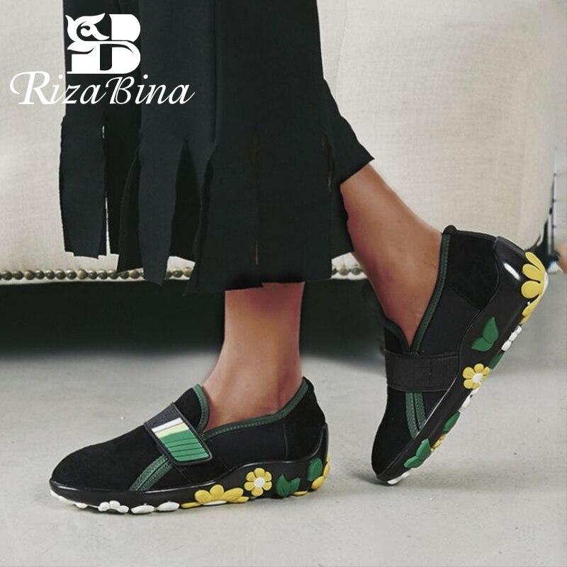 RIZABINA คุณภาพสูงรองเท้าสตรีรองเท้าหนังแท้หนังนุ่มด้านล่างดอกไม้ Leisure รองเท้ากลางแจ้งรองเท้าผู้หญิงขนาด 34  39-ใน รองเท้าส้นเตี้ยสตรี จาก รองเท้า บน   1
