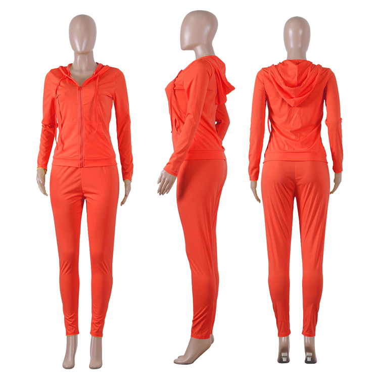 A080059 new fashion solid long sleeve solid zipper sweatshirt pencil pants woman clothing two piece set
