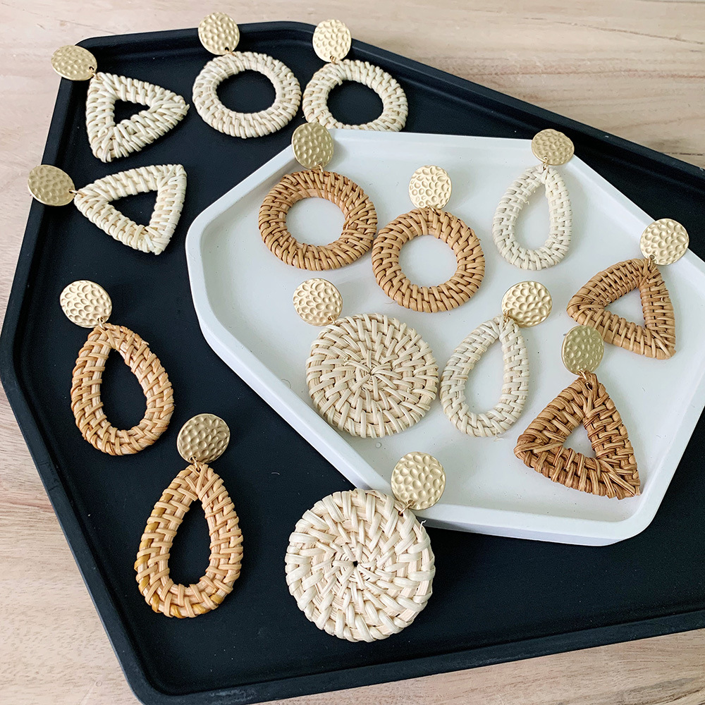 Bohemia Wicker Rattan Knit Earrings Ethnic Wood Bamboo Weaving Geometric Circle Statement Drop Earrings for Women Jewelry 2019