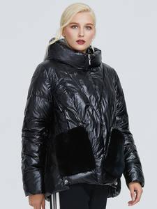 2019 Astrid зимняя куртка женская черная глянцевая модная куртка плюшевая прошитая с большими карманами дизайнерская теплая черная Женская пар...