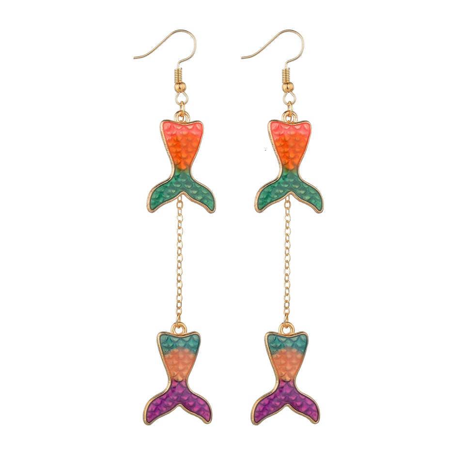 Renkli Bling Mermaid Inci Denizyıldızı Yıldız Damla Küpe Deniz Kabuklu Denizyıldızı Plaj yaz takısı Dangle Küpe Hediyeler