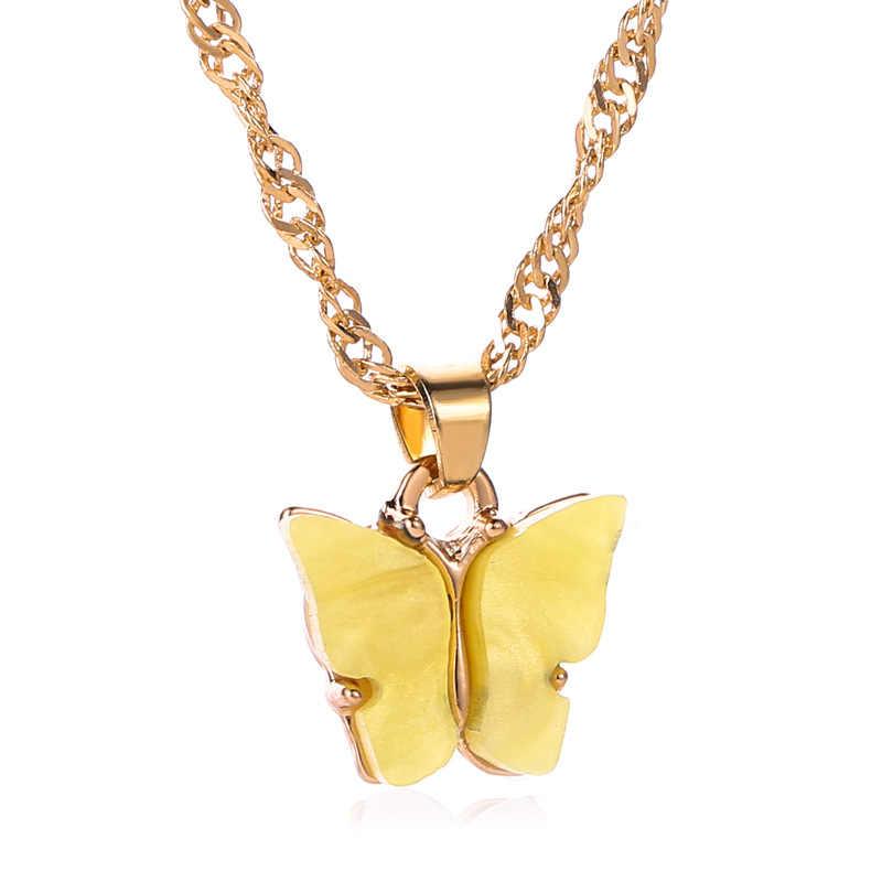 Señora mujer chica mujer novia parejas amante Metal Oro Acrílico Color lindo dulce cadena mariposa colgante encanto collar