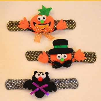 Halloween Flash Light Slap Bracelets Spider Pumpkin Ghost Slap Bands for Boys and Girls Birthday Party Halloween Easter Favors image