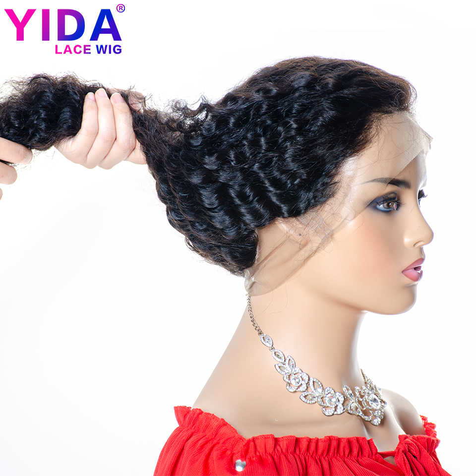 Onda profunda brasileira perucas de cabelo humano 360 peruca frontal do laço com o cabelo do bebê pré-arrancado preto natural para as mulheres remy yida peruca
