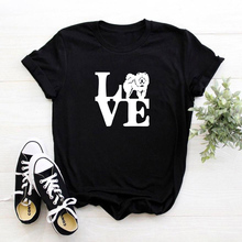 Funny I Love Chow Chow print cotton t shirts for women dog lover girlfriend Graphic Tees