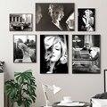 Настенные картины Мэрилин Монро для гостиной, Постер и печать со звездами из фильмов, настенная Картина на холсте, домашний декор, черная бе...
