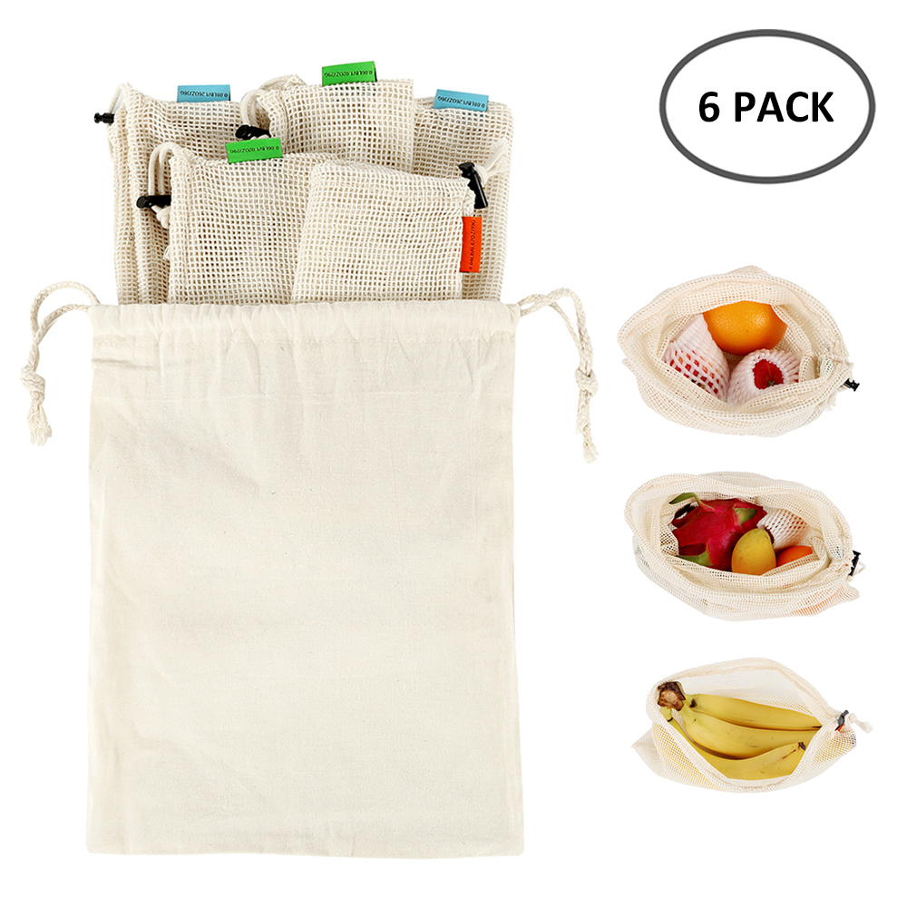 6pcs/set Premium Cotton Mesh Produce Bags Reusable Washable Storage Drawstring Bag For Shopping, Grocery,Fruit Vegetable