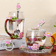 цена на Enamel color glass coffee cup saucer set peony flower tea cup European-style Heat-resistant glass tea cup home water mugs