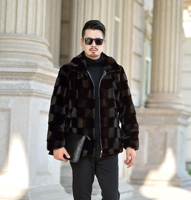Risvolto Autunno visone del faux giacca di pelle mens di inverno addensare caldo cappotto di pelle pelliccia degli uomini di sottile giacche jaqueta de couro nero 964 - 3