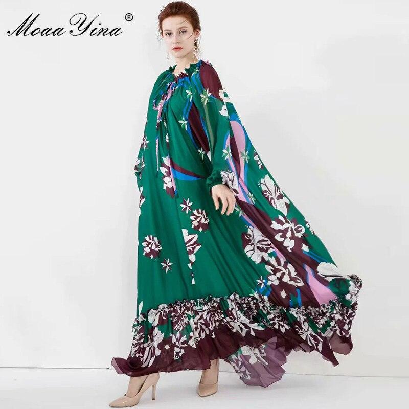 MoaaYina Fashion Designer Dress Spring Summer Women Dress Lantern Sleeve Floral-Print Loose Noble Elegant Maxi Dresses
