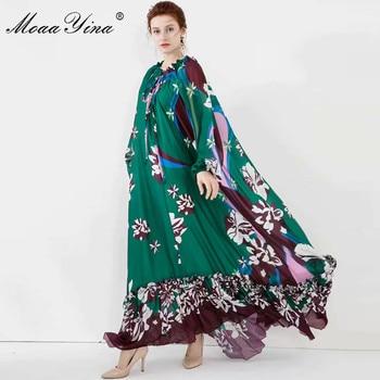 цена на MoaaYina Fashion Designer dress Spring Summer Women Dress Lantern Sleeve Floral-Print Loose Noble Elegant Maxi Dresses