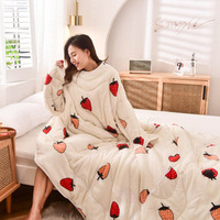 WOSTAR Winter warm Sherpa Blanket With Sleeves soft Ultra Plush Floral print Adult Bathrobe Sofa bed Cozy wearable Blankets