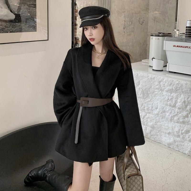 Женская свободная шерстяная куртка gu lan, Элегантная универсальная приталенная куртка средней длины на шнуровке в Корейском стиле, Осень-зим...