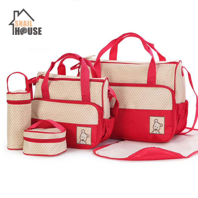 Snailhouse Baby Diaper Bag Suits For Mom Baby Bottle Insulation Bags Changing Pad Mummy Baby Travel Stroller Nappy Bags 5pcs