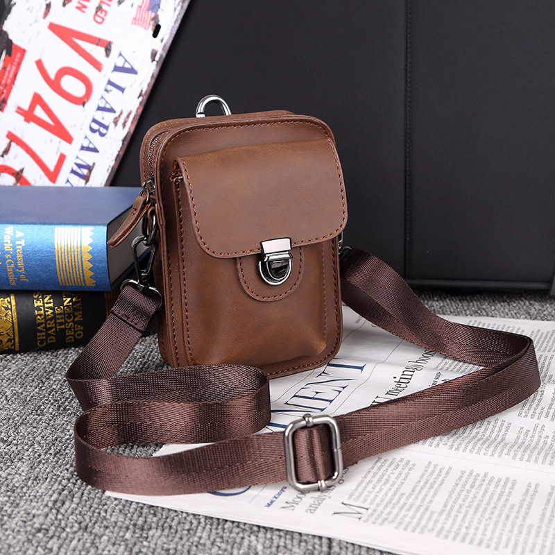 New Mobile Phone Bag Men's Leather Shoulder Bag Outdoor Leisure Mini Bag