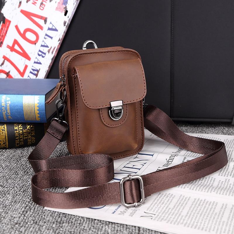 New Mobile Phone Bag Men's Leather Shoulder Bag Outdoor Leisure Mini Bag