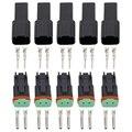Negro 5 Juegos 2 pines/Way DJ3021Y-1.6-11/21 conectores alemán DT04-2P/DT06-2S cable impermeable para automóvil enchufe conector eléctrico