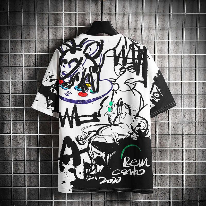 T-Shirt 2020 Divertente Stampato Manica Corta Magliette anno di mouse di Estate Hip Hop Casual Cotone Magliette E Camicette Magliette Streetwear