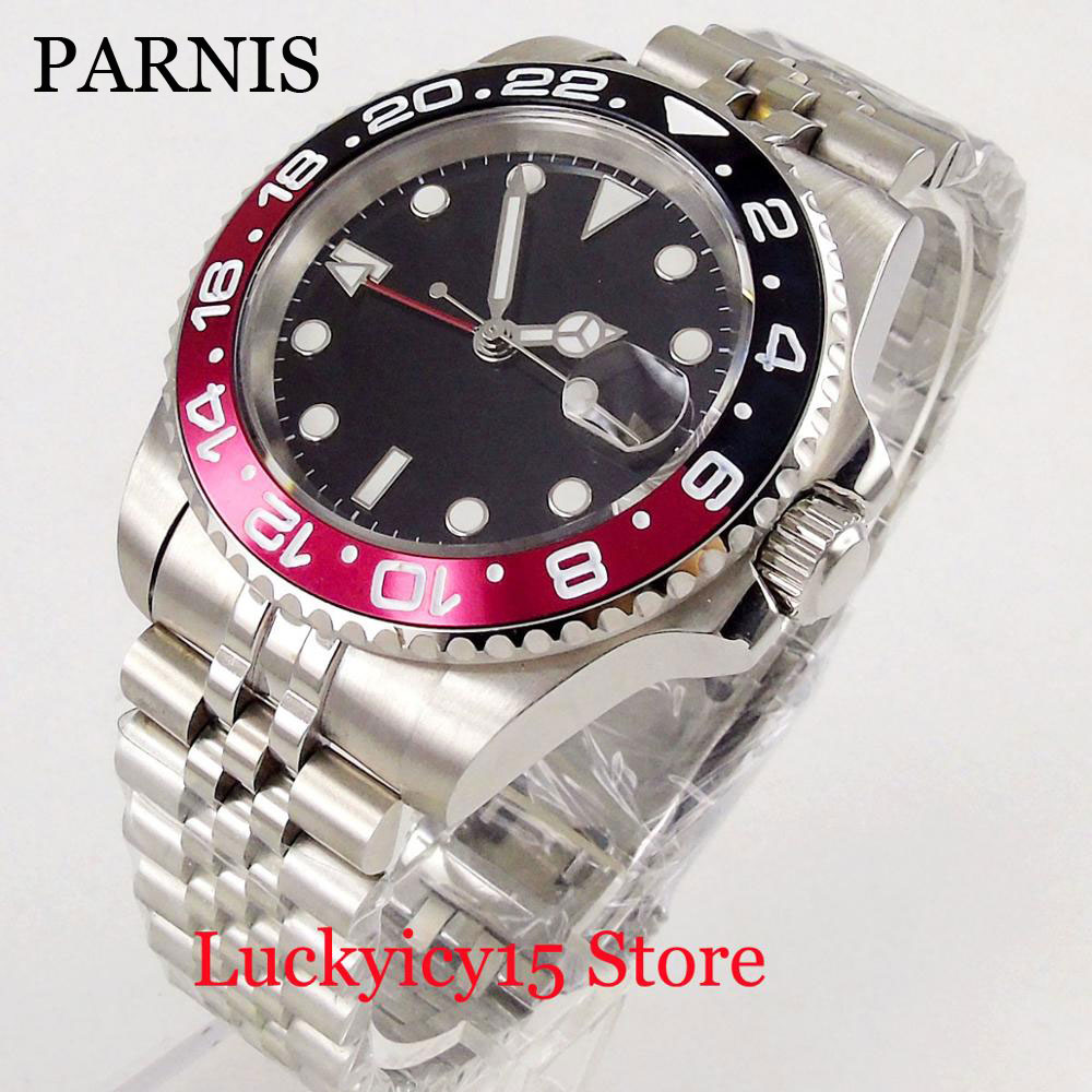PARNIS Hot 40mm Black Sterile Dial Sapphire Crystal Auto Date Window Luminous Marks Rotating Bezel Automatic Men's Watch