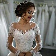 Manga Longa A-Line Vintage Wedding Dress 2021 Long Sleeve Bride Dress Wedding Gown Vestido De Noiva Vestido De Casamento