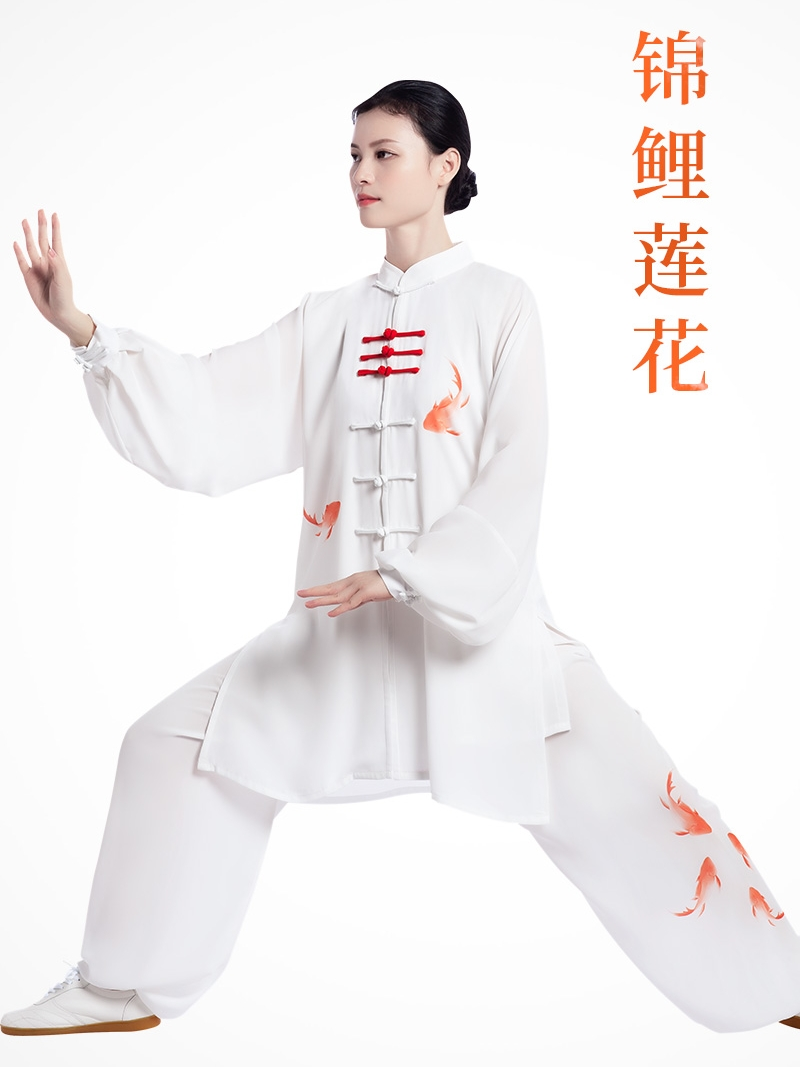 2019 Chinese Men Women Jiu Jitsu Wushu Kung Fu Uniform Tai Chi Suit Martial Arts Performance Suit Mandarin Collar Floral Print