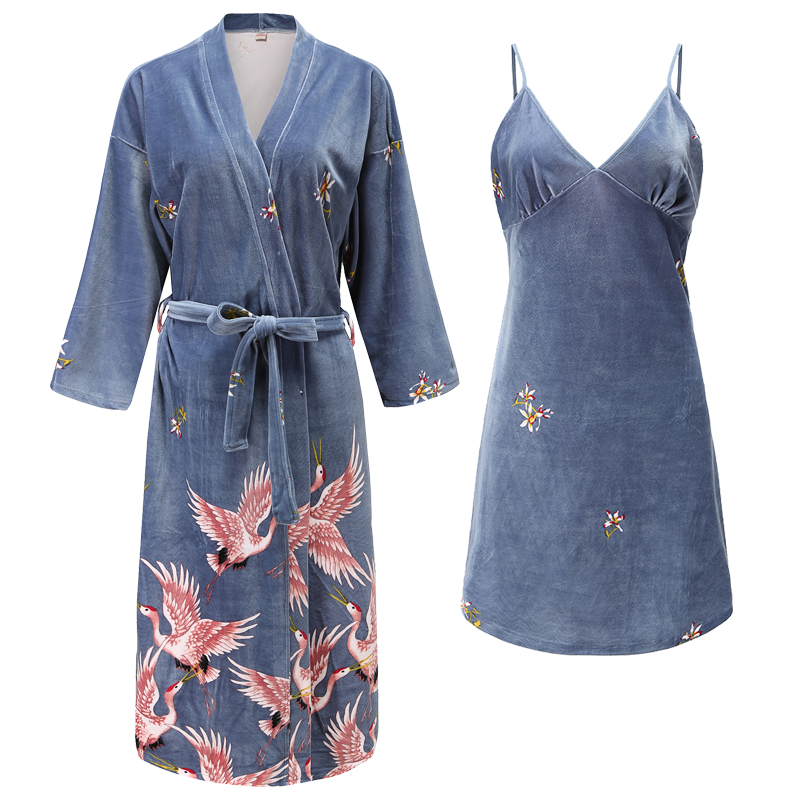2 Pieces (Robe+Nightgown)Women Robe Set Pajamas Set Autumn&Winter New Velour Sleepwear Nightwear Badgown Casual Homewear Wedding