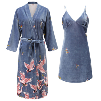2 Pieces (Robe+Nightgown)Women Robe Set pajamas Autumn&Winter New Velour Sleepwear Nightwear Badgown Casual Homewear Wedding - discount item  35% OFF Women's Sleep & Lounge