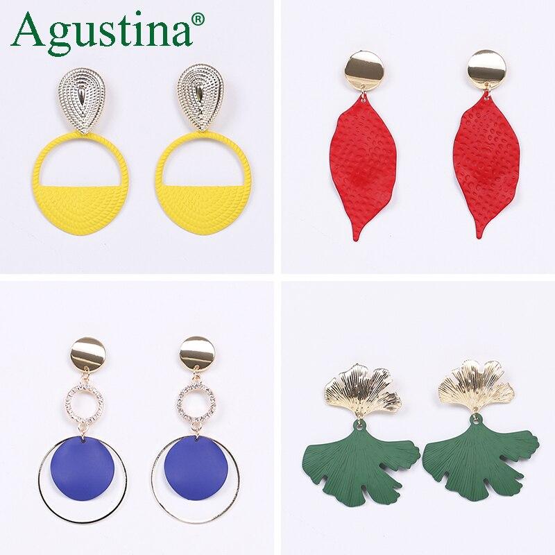 Agustina 2020 Fashion Earrings Jewelry Women Bohemian Metal Drop Earrings Cute Red/Pink/Blue Earrings Statement Korean Wholesale