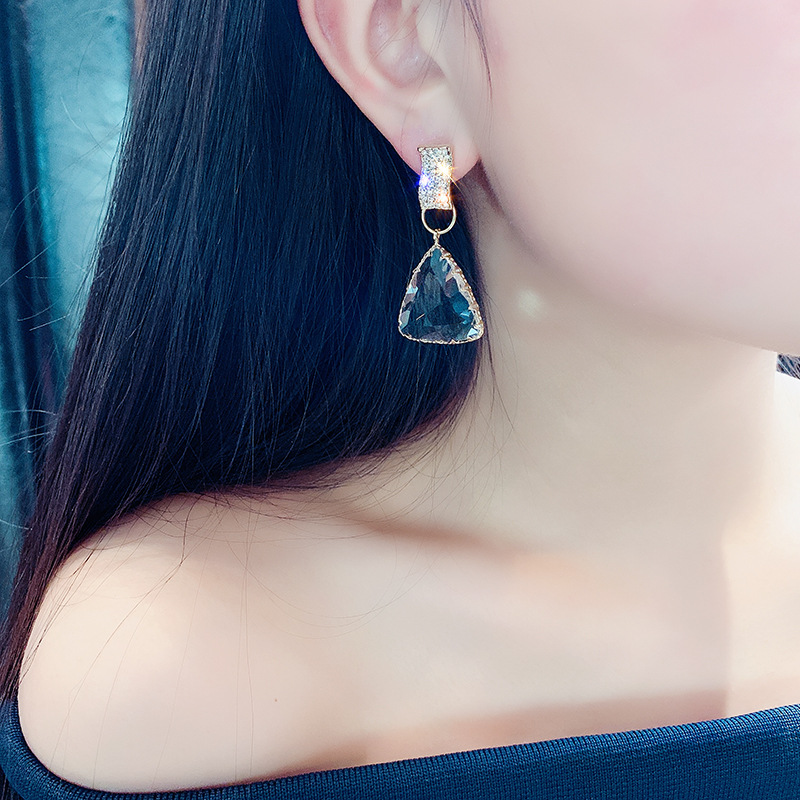 FYUAN Classic Geometric Drop Earrings for Women New Bijoux Triangle Clear Crystal Drop Earring Statement Earring Jewelry Gifts in Drop Earrings from Jewelry Accessories