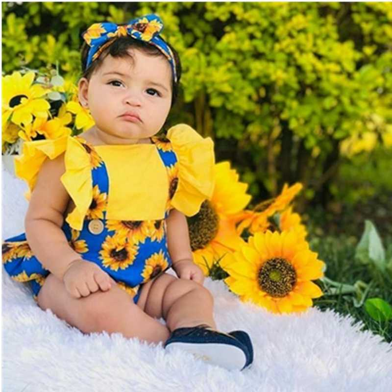 Sommer Neue Mode Neugeborenen Kinder Baby Mädchen Sommer Outfits Kleidung Täglichen Body Blume Strampler Stirnband Großhandel