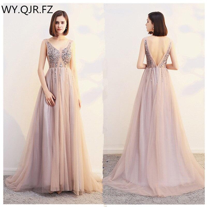 HJZY-180W#Trailing Long Wedding Dress Sequins Apricot White Violet Champagne Slit To Thigh Long V-neck Dresses Cheap Wholesale