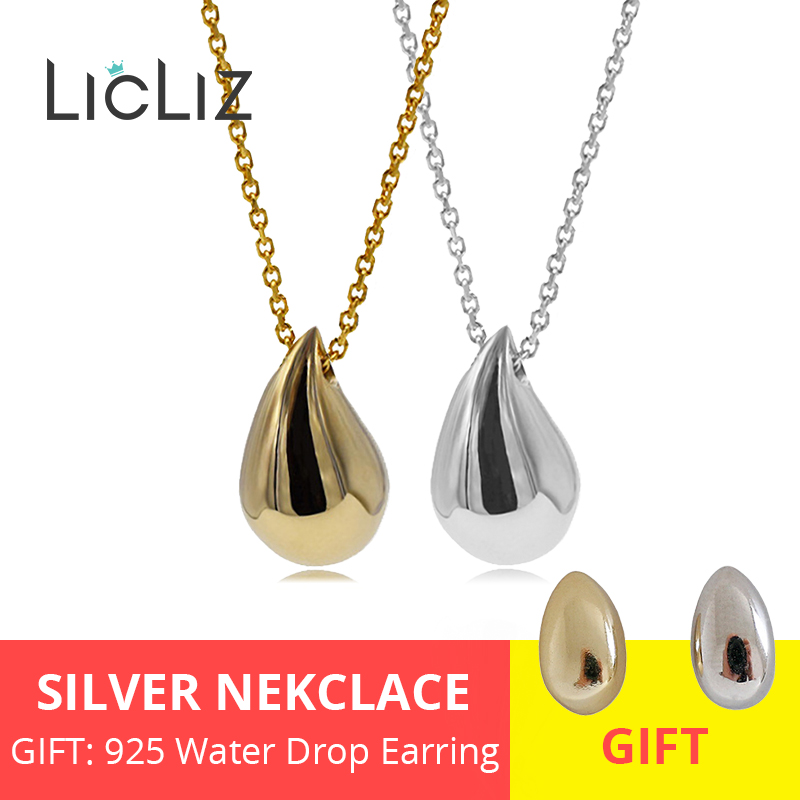 LicLiz 2019 New 925 Sterling Silver Water Drop Pendant Necklaces for Women 18K Gold White Gold LicLiz 2019 New 925 Sterling Silver Water Drop Pendant Necklaces for Women 18K Gold White Gold Link Chains Jewelry Kolye LN0435