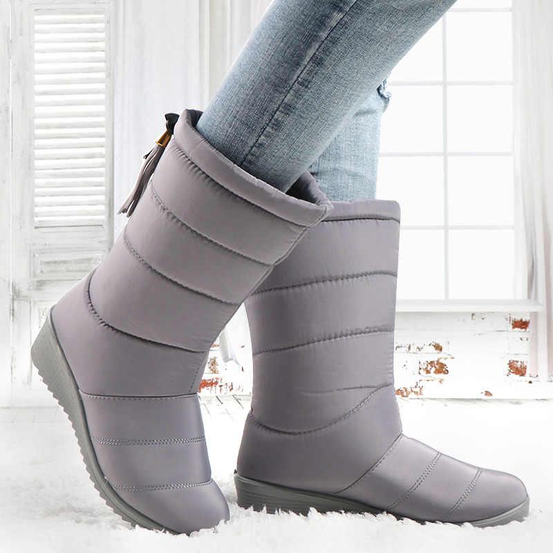 Kadın Kış Çizmeler Orta Buzağı Botlar Kadın Su Geçirmez Kar Botları Kızlar Kış sıcak ayakkabı Bayanlar Peluş Astarı Botas Mujer
